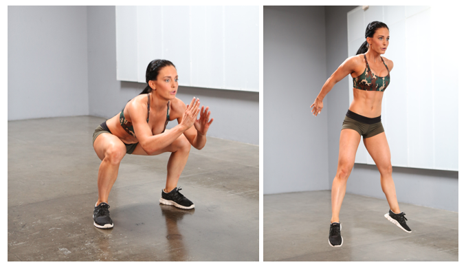 Squats con salto fuori – allenare le gambe